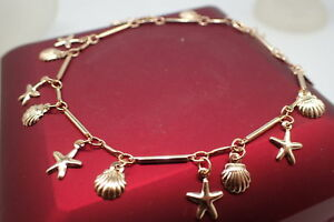 18K-Yellow-gold-GF-Solid-Star-seashell-Women-039-s-Charm-bracelet-8-039-9-039-21-23cm