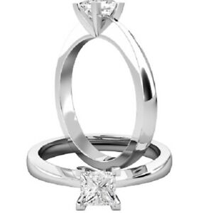 0.50 Ct Princess Moissanite Engagement Superb Rings 18K Solid White Gold Size 9