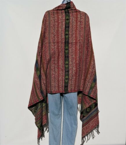 Yak Wool Blend|Shawl//Throw|Handloomed|Nepal|Reversible|Base Colors Red /& Sand