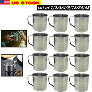 Lot of 1-48 Pack Stainless Steel Coffee Soup Mug Tumbler Camping Mug Cup 16 oz