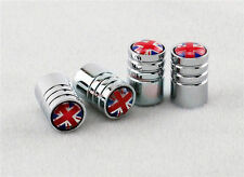 Union Jack Deluxe Chrome Wheel Valve Dust Caps. Mini Cooper, Range Rover MG