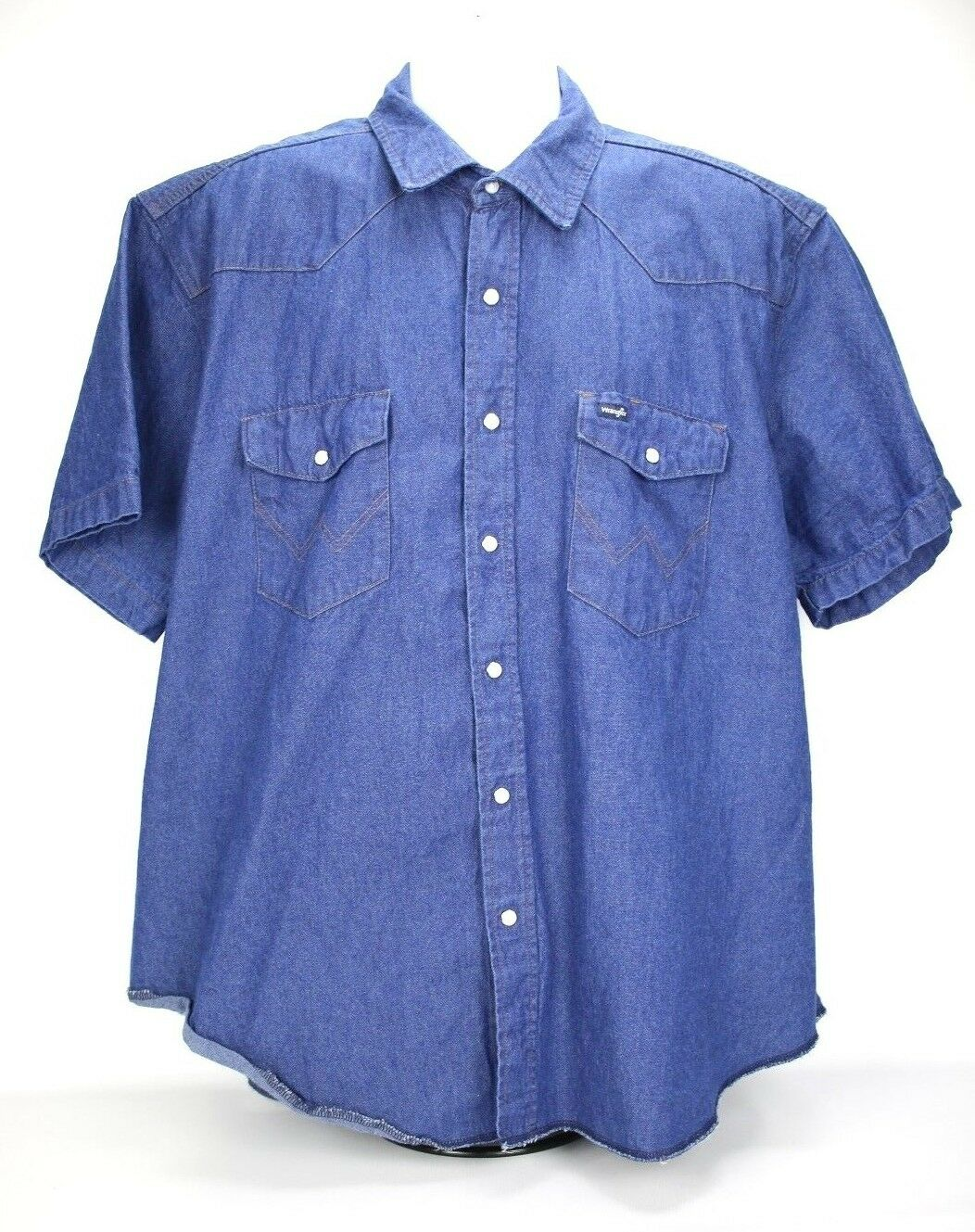 Wrangler Shirt Mens 2X bluee Denim Short Sleeve Pearl Snap Western Casual Jean