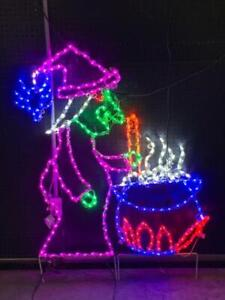 Halloween Witch With Cauldron Outdoor Led Lighted Decoration Steel Frame Ebay