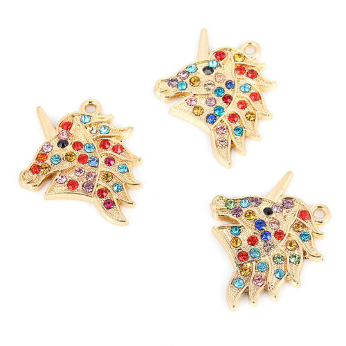 10X Gold Unicorn/&Multicolor Rhinestone Charm Pendant DIY Jewelry Craft Making