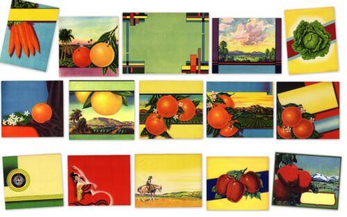 15 FRUIT BOX CRATE LABELS VINTAGE LOT ORIGINAL STOCK 1930S 40S 50S CITRUS FRUIT