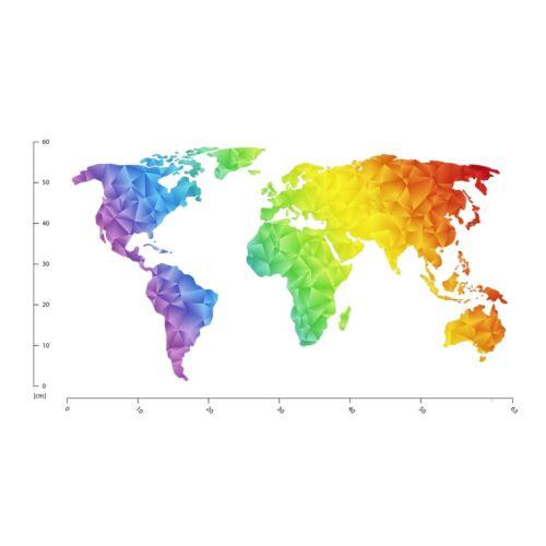 Geometric World Map Educational Wall Sticker WS-45488