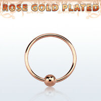 22g Endless Nose Hoop Rose Plated Sterling Silver Closure Ball Body Jewelry