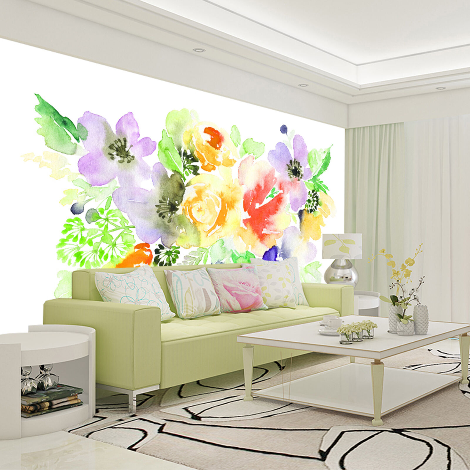 3D painted flowers Wall Paper Print Decal Wall Deco Indoor wall Mural