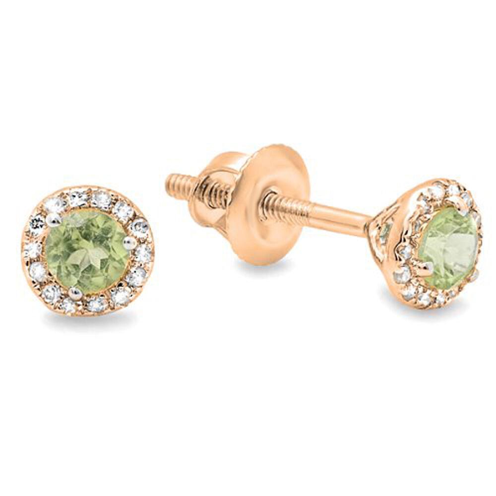 0.35 CT 10k pink gold Green Peridot & White Diamond Ladies Halo Stud Earrings