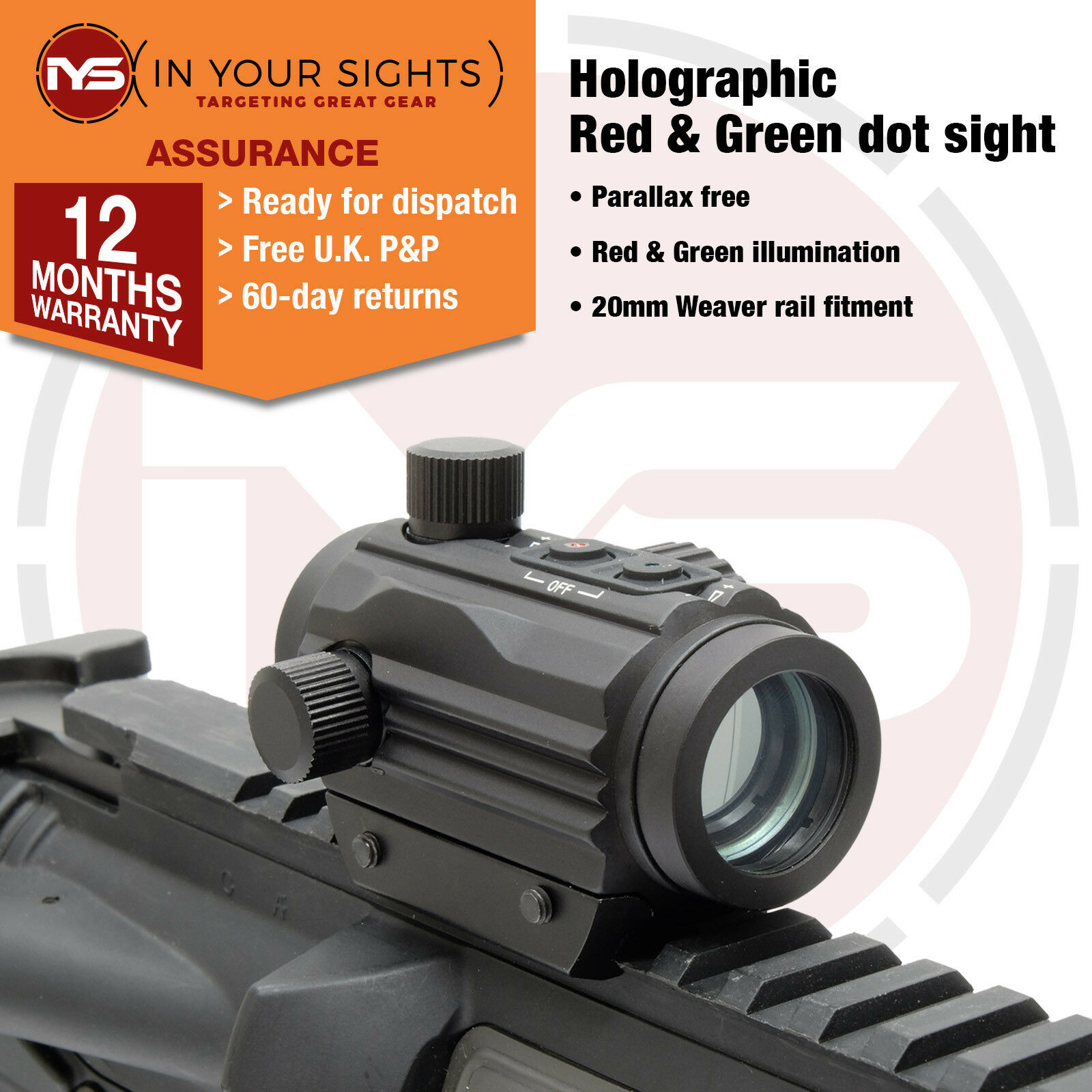 Holographic red & green dot sight  Micro M1 airsoft rifle sight. Fits 20mm rails
