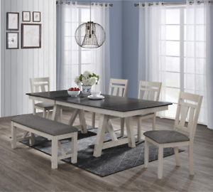4 Chairs Bench Dining Room Set, Gray Rustic Dining Room Set