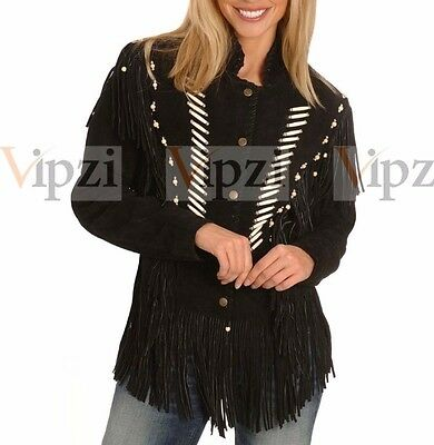 Vipzi Women's Western BLACK Cowhide suede Leather Jacket fringe and bone