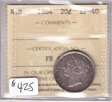 1864 NEW BRUNSWICK 20 CENT COIN ICCS CERT EF-40