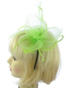 Image is loading Light-Green-mesh-feather-and-gems-fascinator-headband- ff2f0007ba4