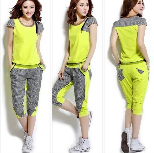 New Women Sport Tracksuit Lattice Running Yoga Jogging Sweat T-shirt+Pants Set