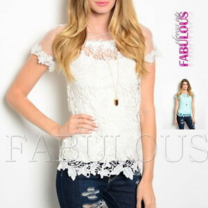 New-Sexy-Sheer-Crochet-Lace-Top-Hot-Party-Casual-Shirt-Blouse-Size-8-10-12-S-M-L