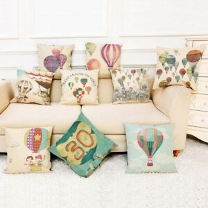 Square-Linen-Pillow-Case-Hot-Air-Balloon-Sofa-Office-Cushion-Cover-Home-Decor
