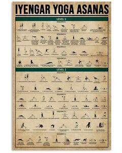 iyengar yoga asanas 2 levels poster wall decor art print