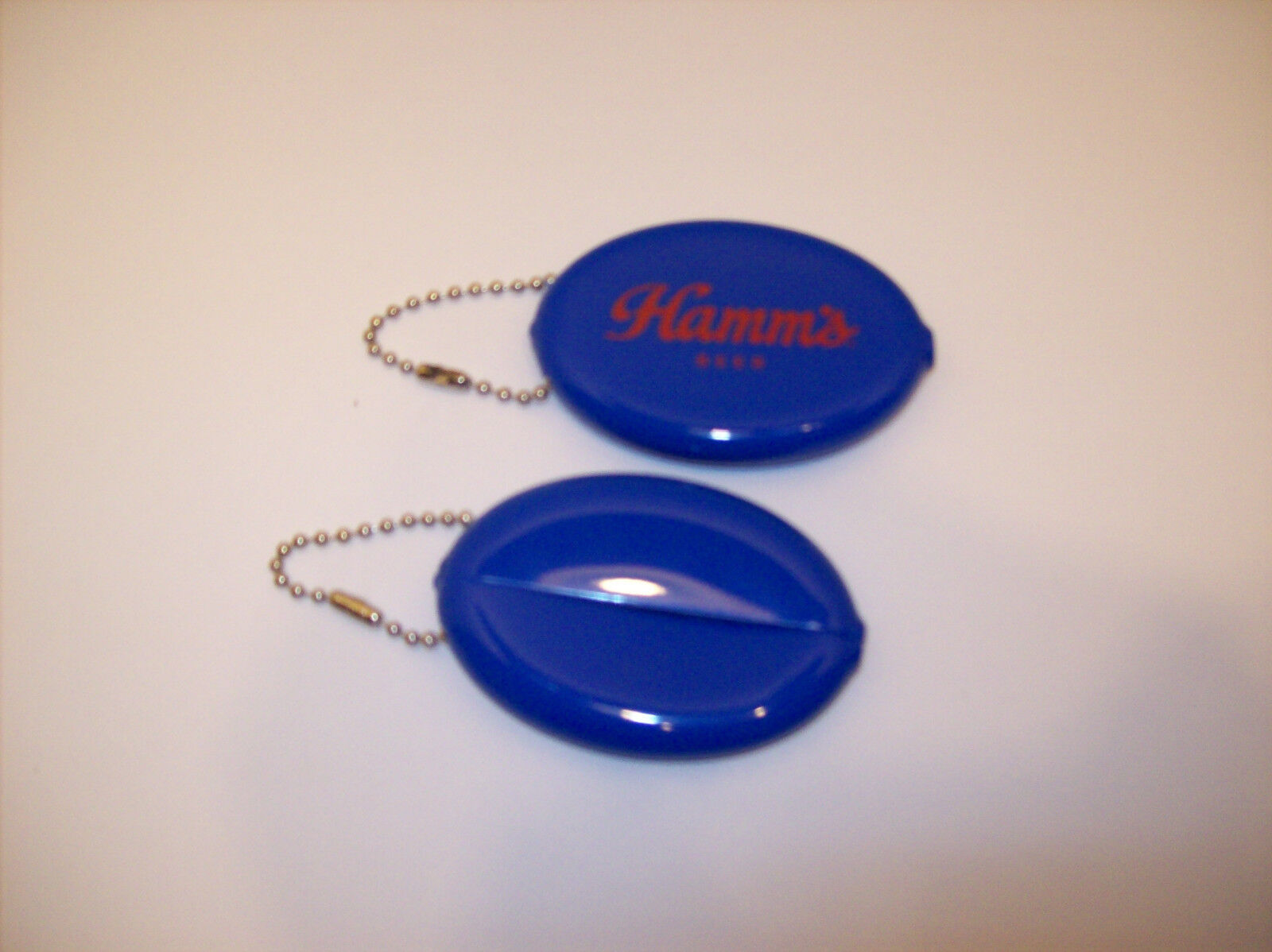 2 New Blue Rubber Squeeze Coin Holder Money Change Purse Oval Hamms Beer