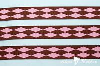 3 Yards 5/8 Brown Pink Harlequin Diamonds Renaissance Jacquard Ribbon