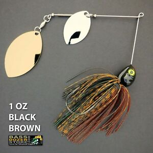 Bassdozer-spinnerbaits-DOUBLE-OKLAHOMA-1-oz-BLACK-BROWN-spinner-bait-lure