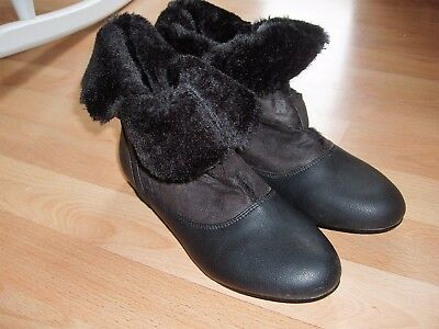 Reino Unido 3 Schuh Negro Botas al tobillo suela de imitación de cuero de gamuza Hebillas De Goma