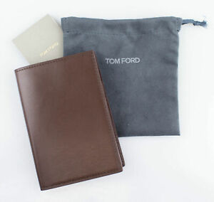 NWT-TOM-FORD-Brown-Smooth-100-Leather-Bifold-Card-Holder-Wallet-390