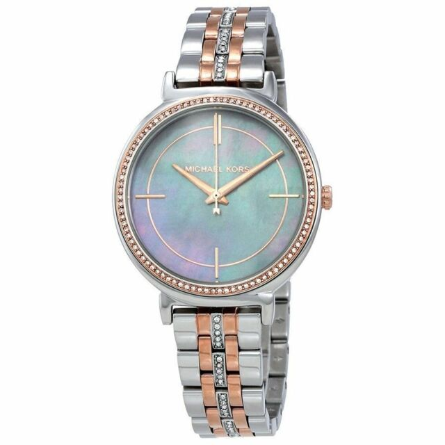 858402757 Michael Kors Women's MK3642 Cinthia Two Tone Blue Mother of Pearl Dial Watch