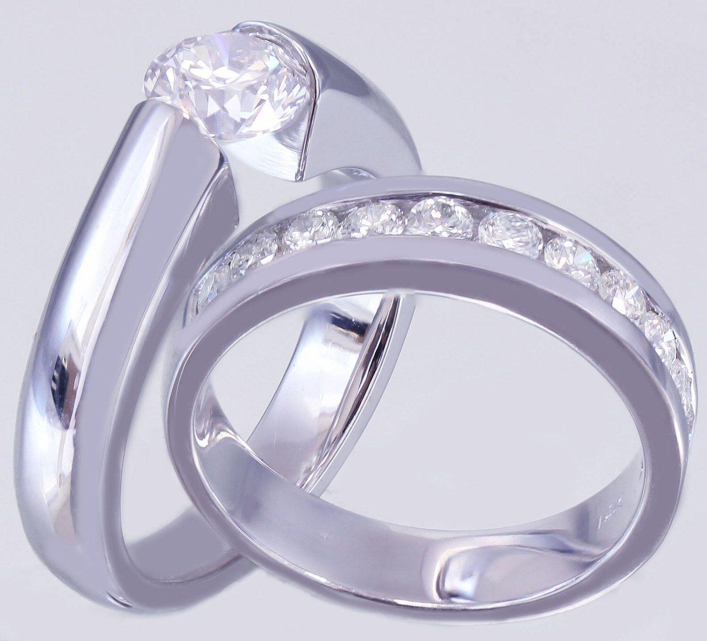 Bridal Set Wedding Engagement Ring 2ct Round Cut Diamond 18k White gold Finish