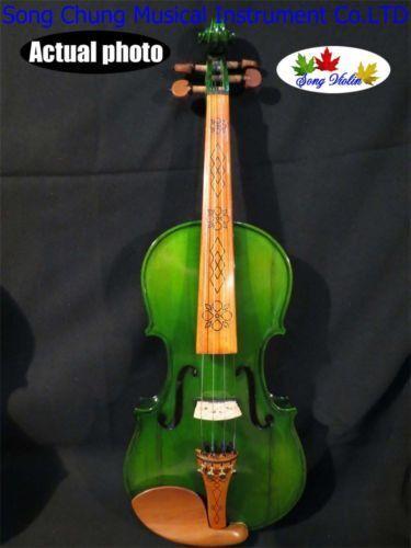 Solid wood Green colors 4 4 electric violin +Acoustic violin