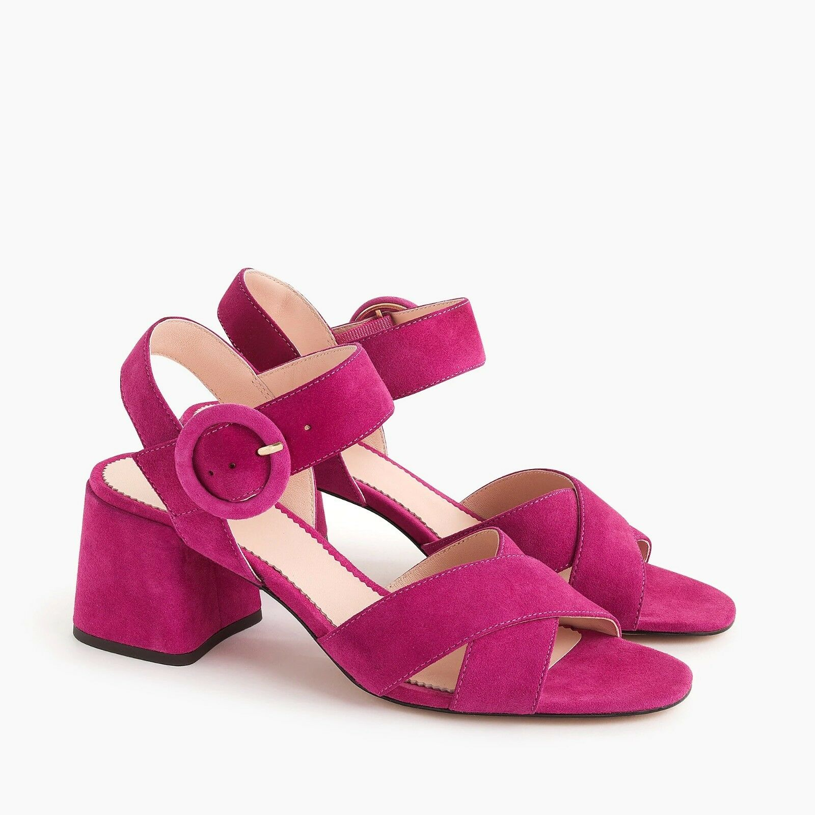 J. Crew Femme en Daim Penny Sandals-NEW IN BOX-Crisp Berry Rose-Taille 8.5