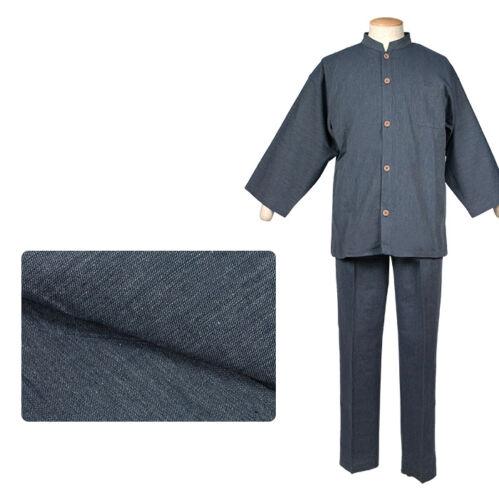 Japonais Samue Traditionnel Kimono Denim Chemise de travail Veste Pantalon Set Blue Japan