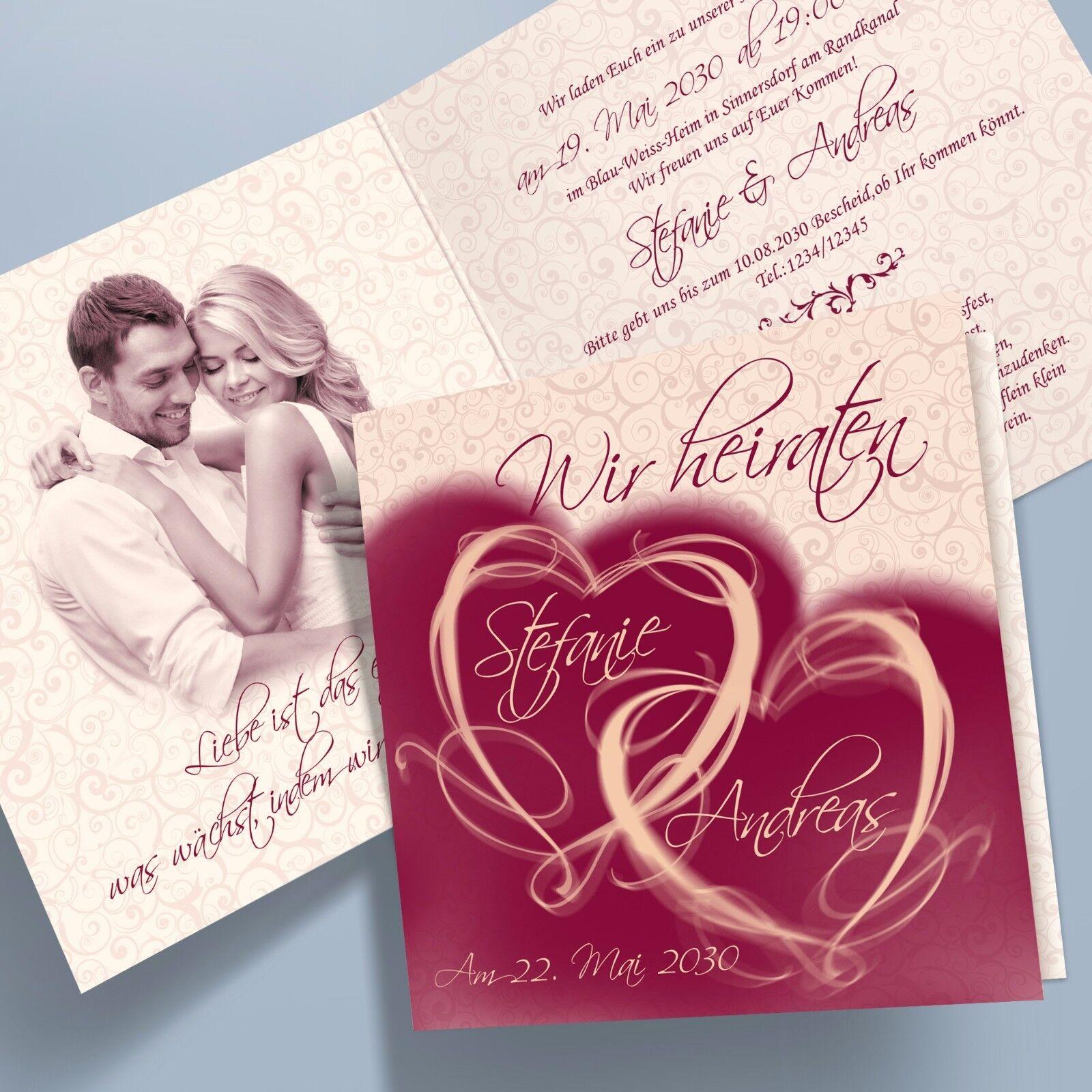 Personalisierte Einladungskarten Hochzeit, Klappkarten – 11 bordeaux quadratisch     | Adoptieren  | Kostengünstiger  845883