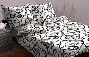 4 tlg mako satin bettw sche weiss schwarz ornament muster 135x200 neu ebay. Black Bedroom Furniture Sets. Home Design Ideas