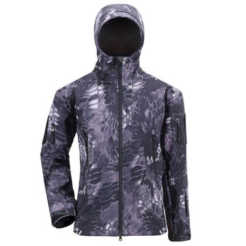 Men/'s Outdoor Imperméable Tactique Veste polaire à capuche manteau Randonnée Camping Tops