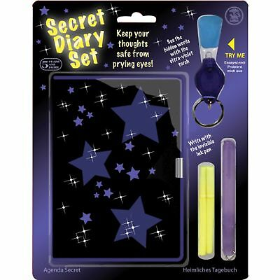 14.5cm Secret Diary Set With Padlock Invisible Ink Pen And Ink Refills