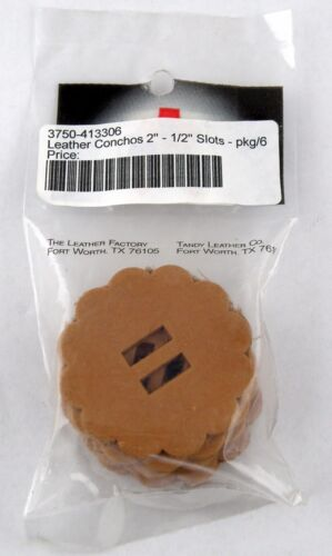 """1//2/"""" Slots Tandy Leather #4133-06 - Pkg//6 2/"""" Leather Conchos"""