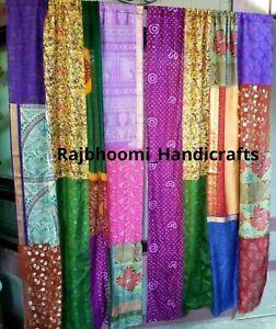 Indian Sari 2 Pcs Patchwork Curtain Drape Window Decor Multi Silk Sari Curtains