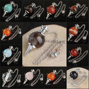 Amethyst-Quartz-Crystal-Stone-Point-Healing-Chakra-Dowsing-Pendulum-Jewelry-20mm