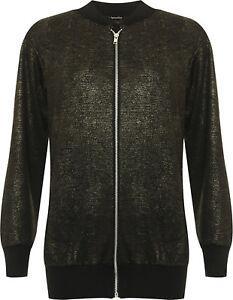 Womens Plus Size Full Front Zip Long Sleeve Lurex Black Gold Bomber