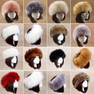 a3abcc79355 Women Russian Cossack Fluffy Faux Fox Fur Hat Headband Winter ...