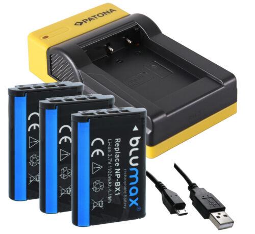 Cargador de np-bx1 (USB) + 3x batería np-bx1 Blumax 1100mah para Sony dsc-rx100 V