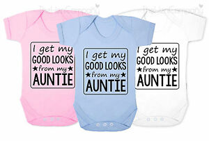Funny Auntie Babygrow Bodysuit Baby Clothes Aunt Good Looks New Baby