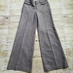 Banana Republic Womens Size 0 Stretch Brown Tweed Dress Pants Wide Leg Wool Clothing, Shoes & Accessories