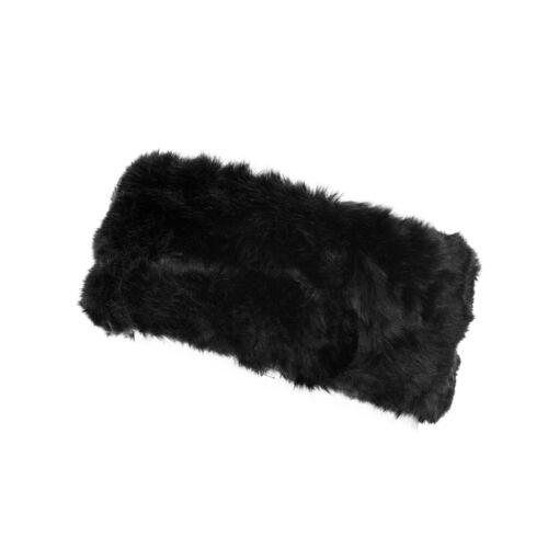 Femme fausse fourrure bandeau femme ski hiver usure Earwarmers Noir Taille Unique