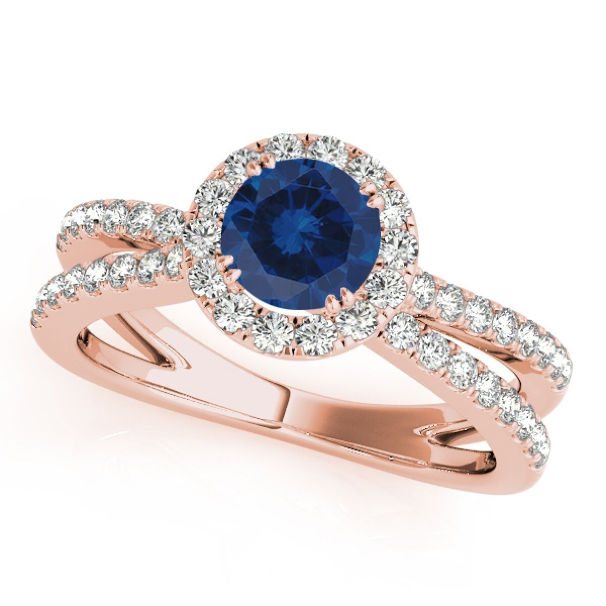 1.40 Carat Halo Sapphire-Diamond Engagement Ring In 14k Solid gold