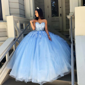 Blue Floral Quinceanera Dress Sweetheart Beaded Lace Up Evening Sweet 16 Dresses