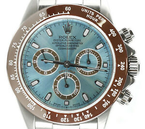 Details about Rolex Daytona 116520 Custom Ice Blue Dial \u0026 Brown Ceramic  Bezel Stainless Steel