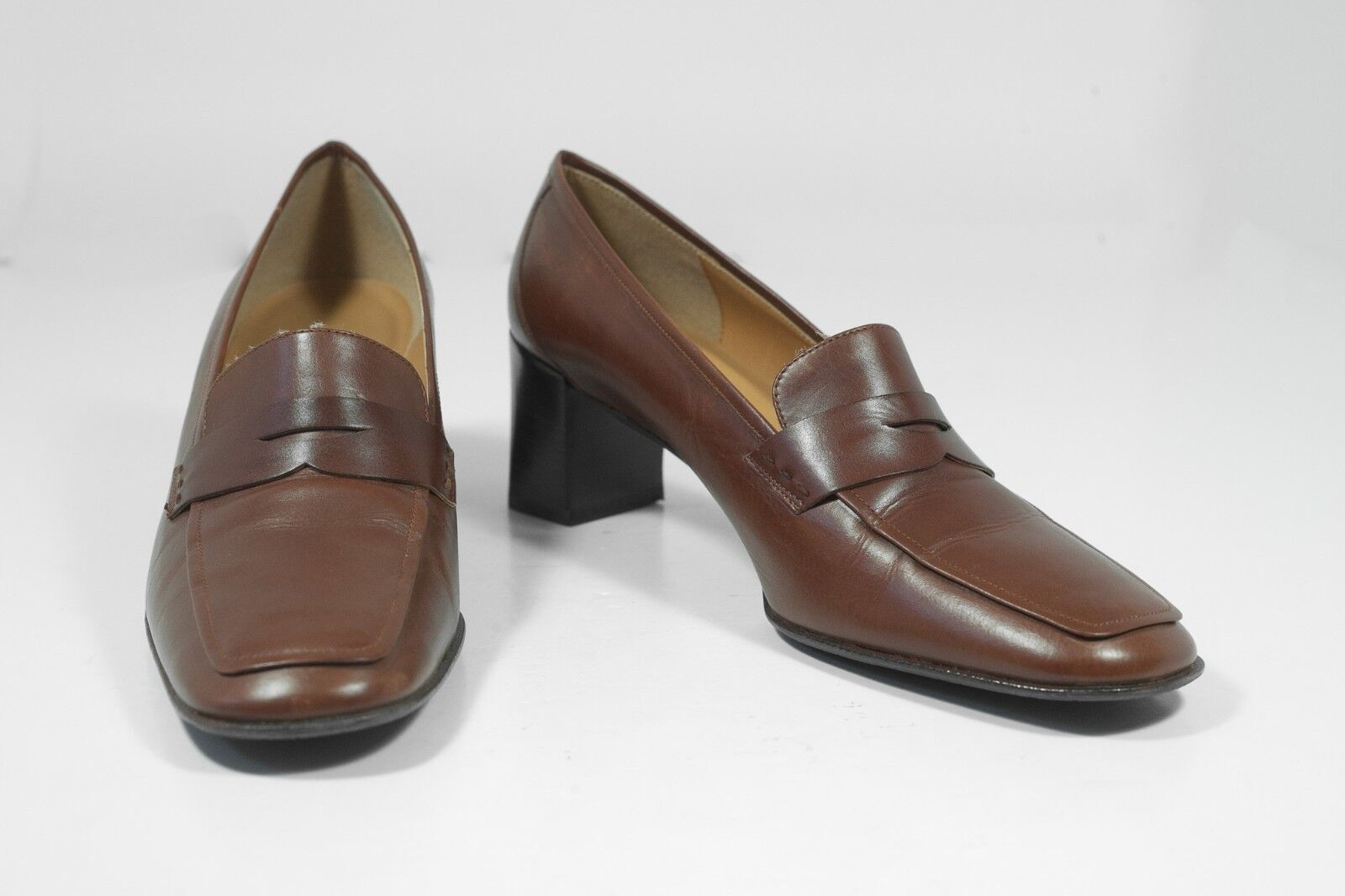 Ralph Lauren Sz 9 Brown Penny Loafers Womens Leather