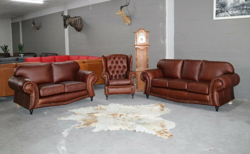 BRAND NEW Genuine Leather SERENGETI 3pc Lounge Suite, HANDCRAFTED in THICK BUFFALO LEATHER